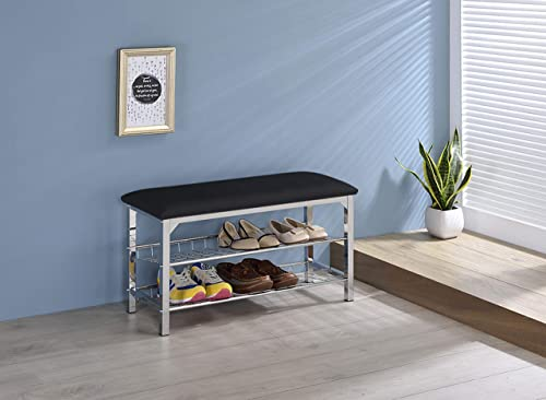 Kings Brand Furniture – Dana Chrome Shoe Rack Organizer Bench, Black