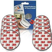 PLAVA 10x Rauchmelder Magnethalter - 3M Magnetbefestigung für Rauchmelder 10 Stück - Schnelle und sichere Montage - Extra starke Magnethalter für Rauchmelder - Magnethalterung Rauchmelder
