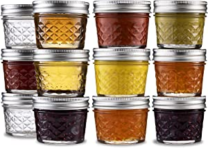 Ball Mini Quilted Crystal Jelly Jars 4 oz [12 Pack] Regular Mouth Mason Jars With Airtight lids and Bands For Canning, Preserving, Jams, Favors, DIY - Microwave & Dishwasher Safe. + SEWANTA Jar Opener
