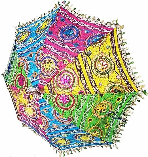 ganesham Handicraft- indio decorativo hecho a mano Funda de algodón Fashion Multi Colored playa paraguas de protección UV paraguas, sombrilla de sol Paraguas bordado, Boho Indian boda paraguas sombrilla: Amazon.es: Hogar