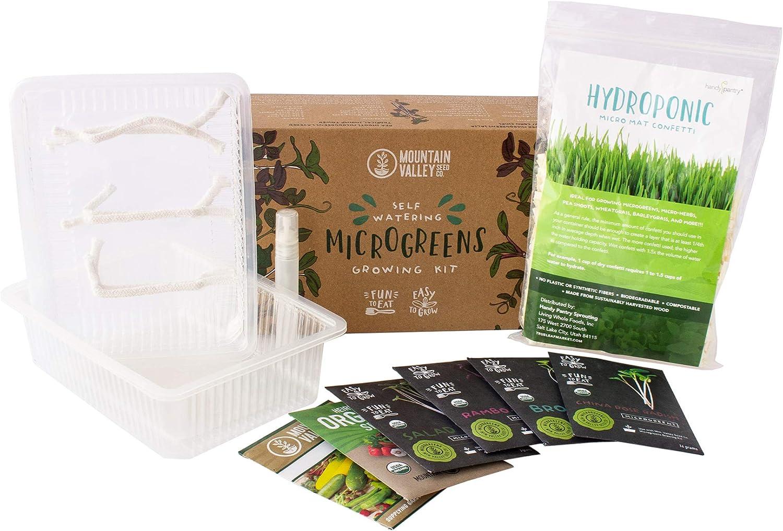 Self Watering Indoor Microgreens Kit - Hydroponic Microgreens Growing Kit for Vegetable Seeds & Herb Seeds - Broccoli, Rambo Radish, Red Tatsoi, China Rose Radish, Spicy Salad Mix, Basic Salad Mix