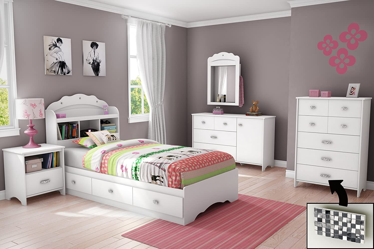 pink and white bedroom furniture. Amazon.com - Tiara Collection Twin Bookcase Headboard Pure White Bedroom Furniture By South Shore Girls Bed Pink And A