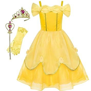 Sunny Fashion Vestido Para Niña Bella Disfraz Accesorios Corona Varita Mágica 10 Años