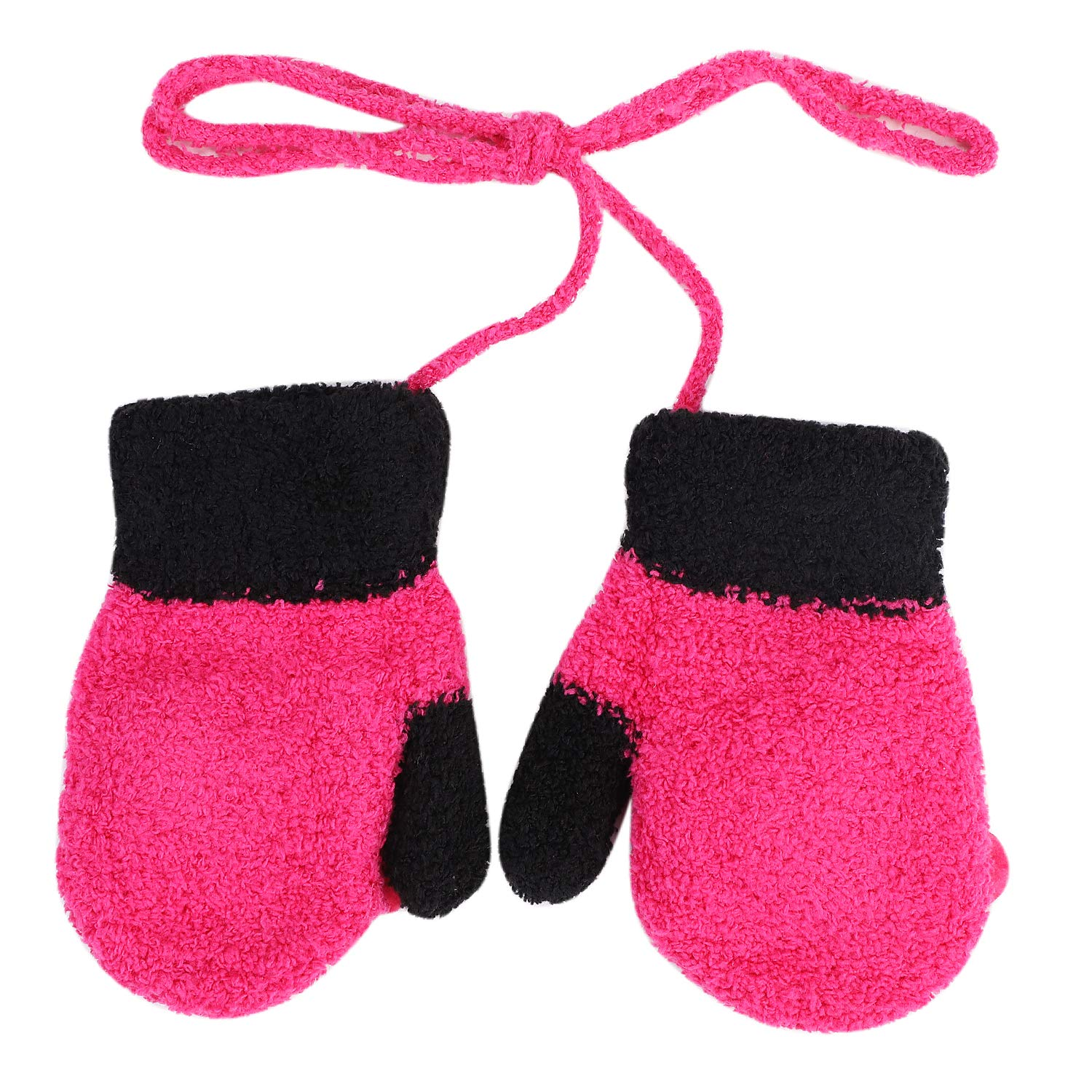 Qchomee Baby Cute Cartoon Gloves Thicken Winter Warm With String Gloves Soft Fleece Liner Mittens Hanging Neck Full Finger Gloves Christmas Birthday Gifts for Baby Girls Boys 1-3 Years Old