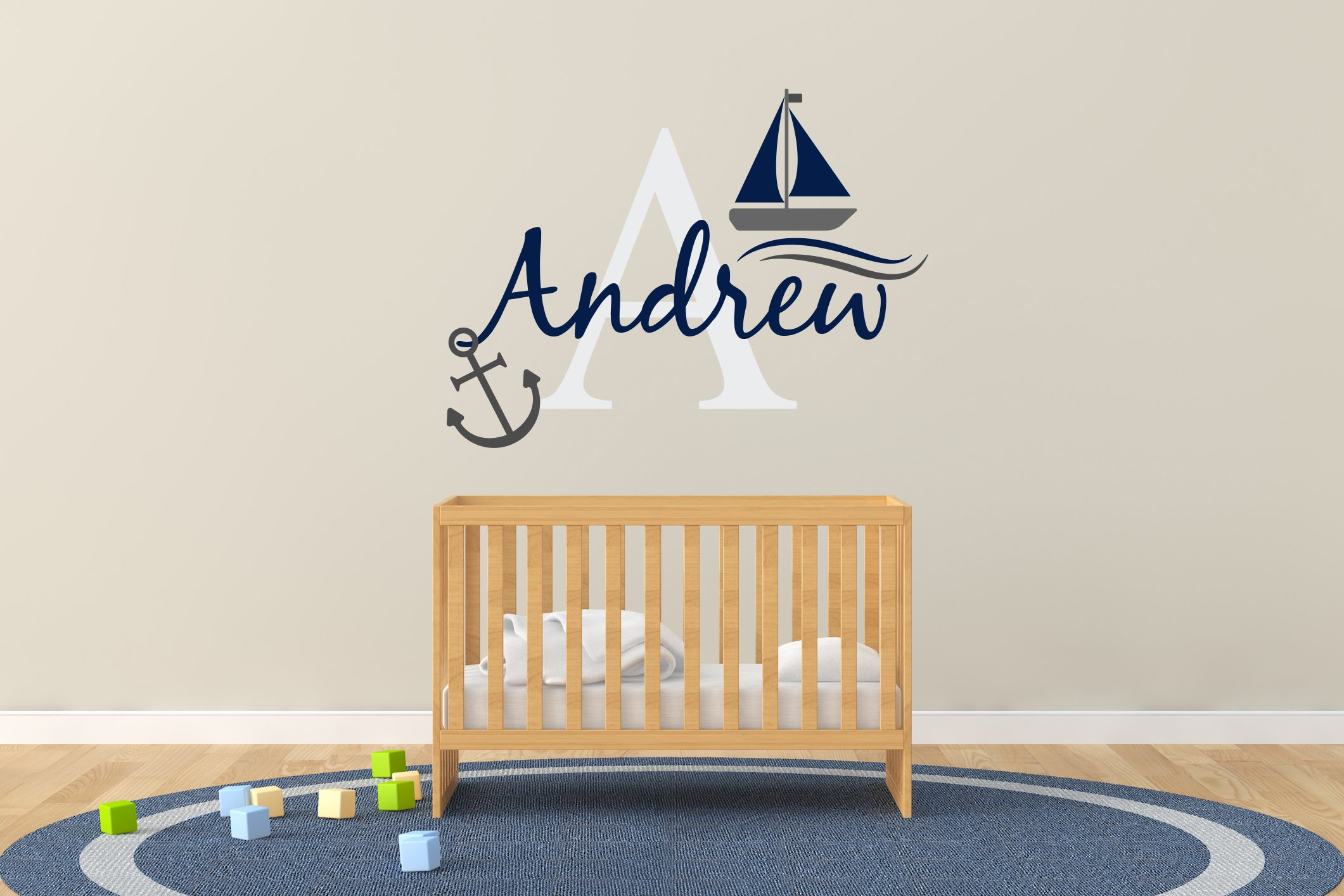 Custom Name & Initial Boat And Anchor - Nautical Theme - Baby Boy - Nursery Wall Decal For Baby Rom Decorations - Mural Wall Decal Sticker For Home Children's Bedroom (R50) (Wide 30''x22'' Height)