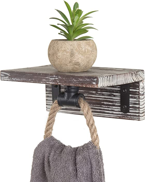 MyGift Industrial Pipe & Rope Towel Ring with Torched Wood Shelf