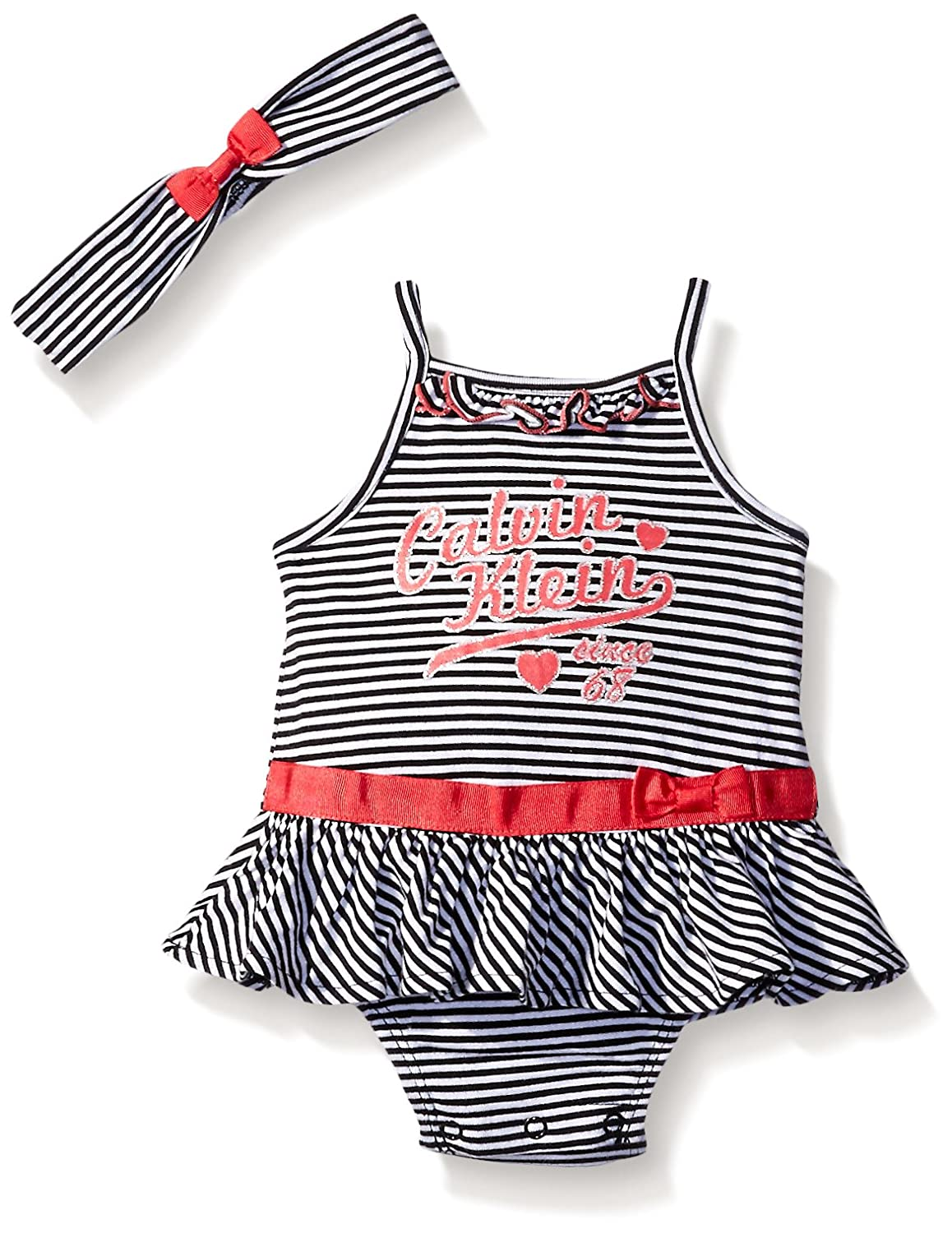Calvin Klein baby-girls Baby Stripe Jersey Sunsuit With Headband CKLGA-0093