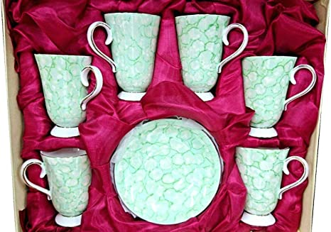 Luxury Porcelain New Turkish Islamic Arabic Coffee Cups Set of 6 and Saucers