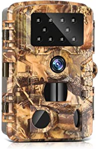 Trail Camera 14MP 1080P Game Camera with IR Night Vision 120° Wide Angle Motion Latest Sensor View 0.2s Trigger Time Waterproof Video Camera for Wildlife Monitoring and Home Security