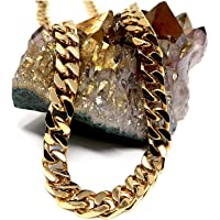 14ct Gold Cuban Link Chain Necklace for Men Real 9MM 14K Karat Diamond Cut Heavy w Solid Thick Clasp