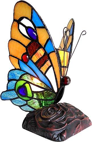 Chloe CH10807OA09-NL1 9″ Tall Kacy 4 Tiffany-Style 1 Light Butterfly Accent Table Lamp