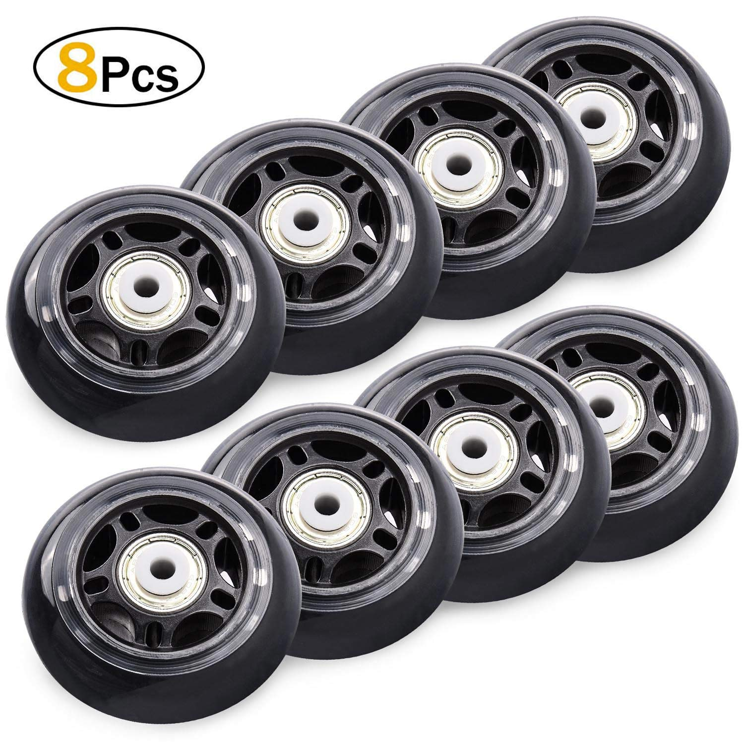 8 Pack Inline Skate Wheels, 70mm 82A Roller Skating Wheels, Heavy Duty Replacement Rollerblade Roller Blades with Bearings ABEC - Black by TOBWOLF