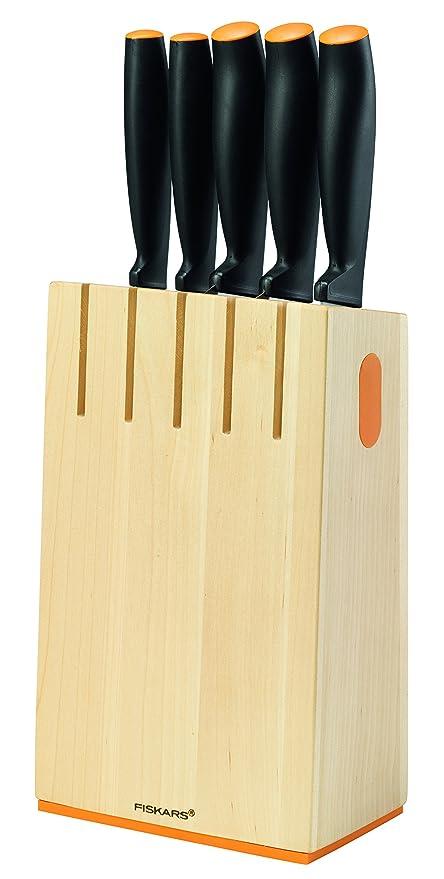 Fiskars Bloque de cuchillos con 5 cuchillos, Ancho: 14,5 cm, Alto: 36 cm, Madera de abedul, Functional Form, 1014211