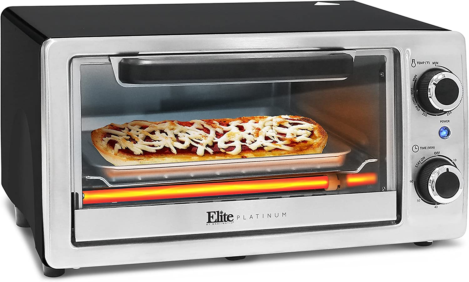 Elite Platinum ETO-9323SS Toaster Oven with Bake Pan, Grill Rack, Crumb Tray, 60-Min Timer, 4-Slice, Stainless Steel