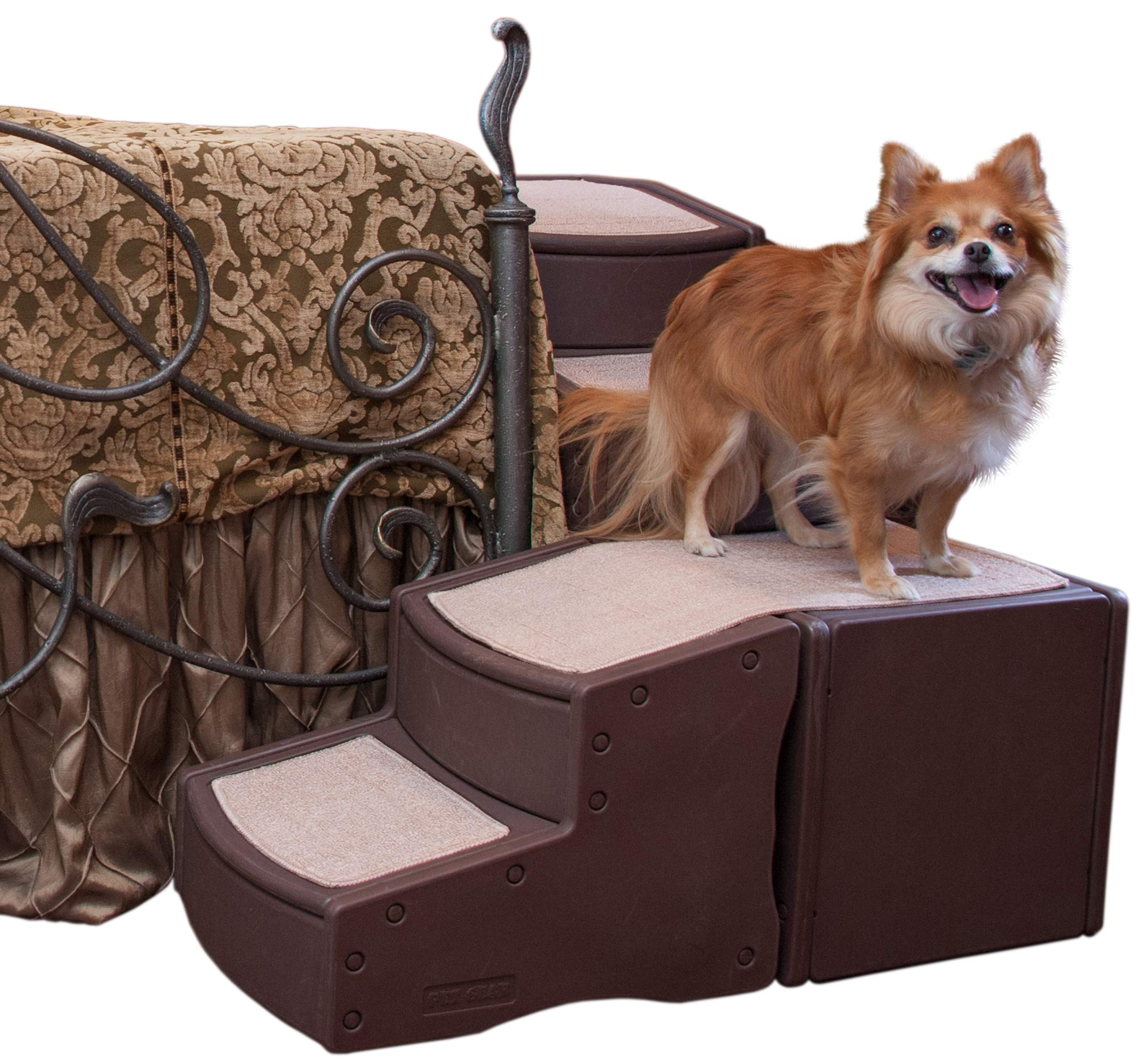 Pet Gear Easy Step Bed Stair for Cats/Dogs with Storage Compartment, Removable Washable Carpet Treads, Space-Saving Multi-Position Design by Pet Gear