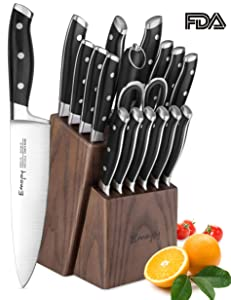 Knife Set, Emojoy 18-Piece Kitchen Knife Set with Block Wooden, Manual Sharpening for Chef Knife Set, German Stainless Steel