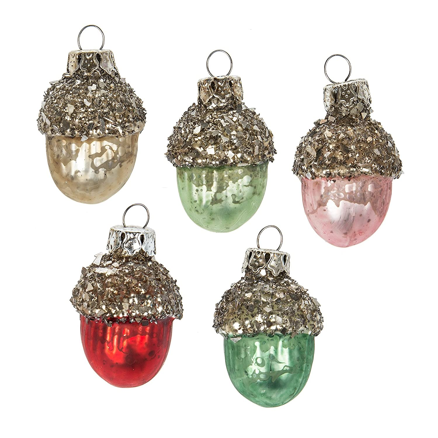 Christmas Tablescape Décor - Assorted pastel vintage mini acorn traditional glass Christmas ornaments - Set of 6