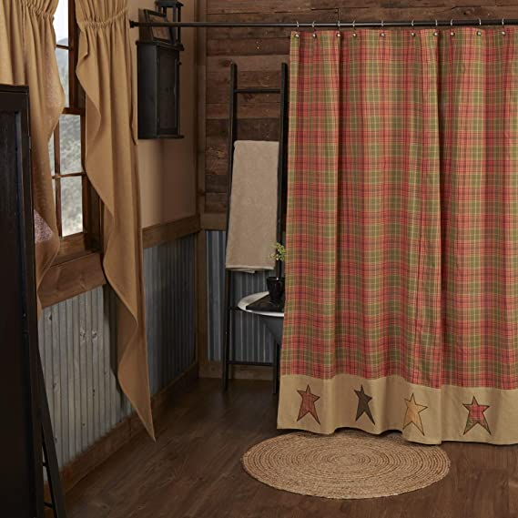 Vhc Brands Stratton Shower Curtain 72x72 Primitive Country Design Green And Red Orange Home Kitchen