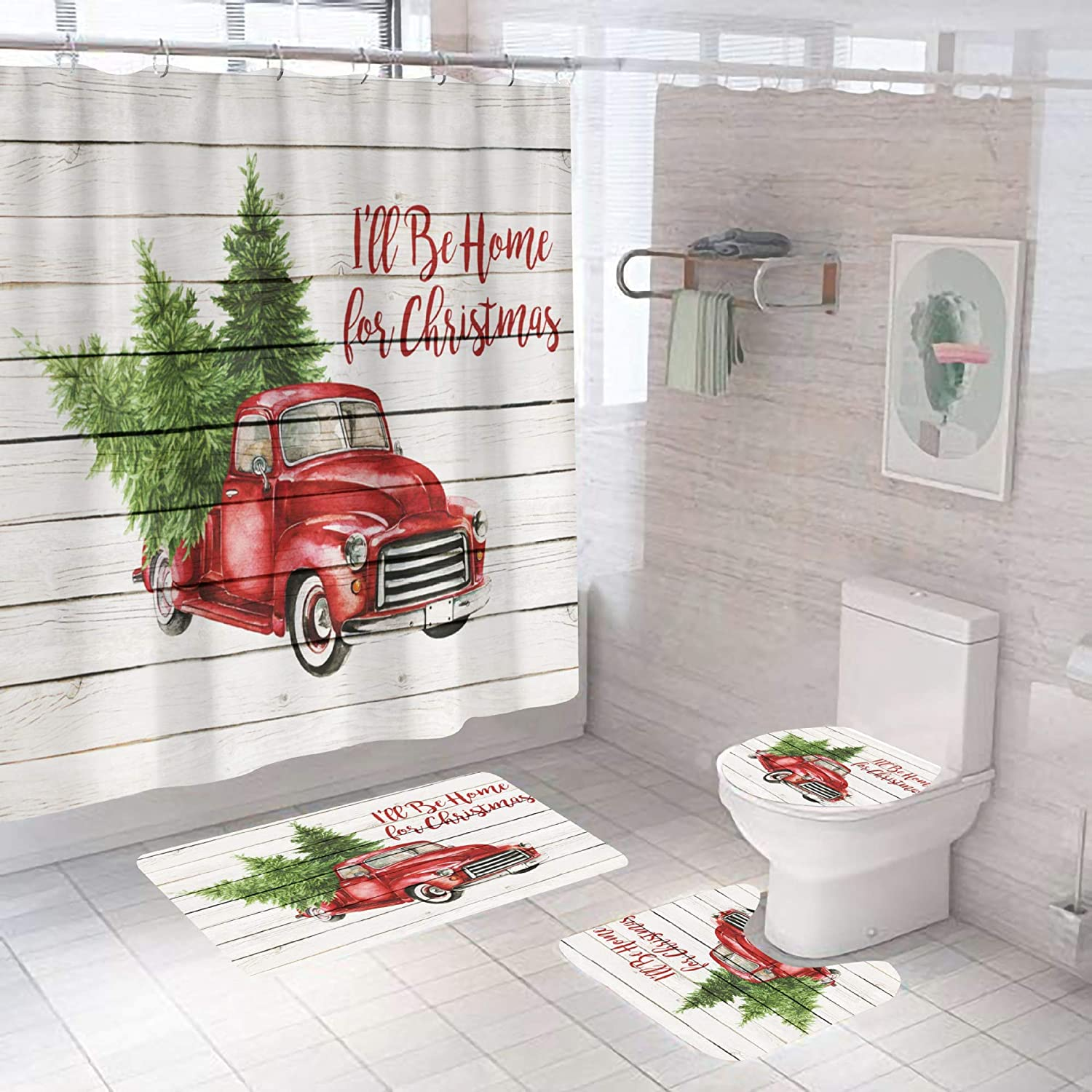 4 PCS Christmas Red Farm Truck Shower Curtain Sets with Non-Slip Rugs and Toilet Lid Cover Tree Rustic Wooden Fabric Bath Decor Shower Curtains 72