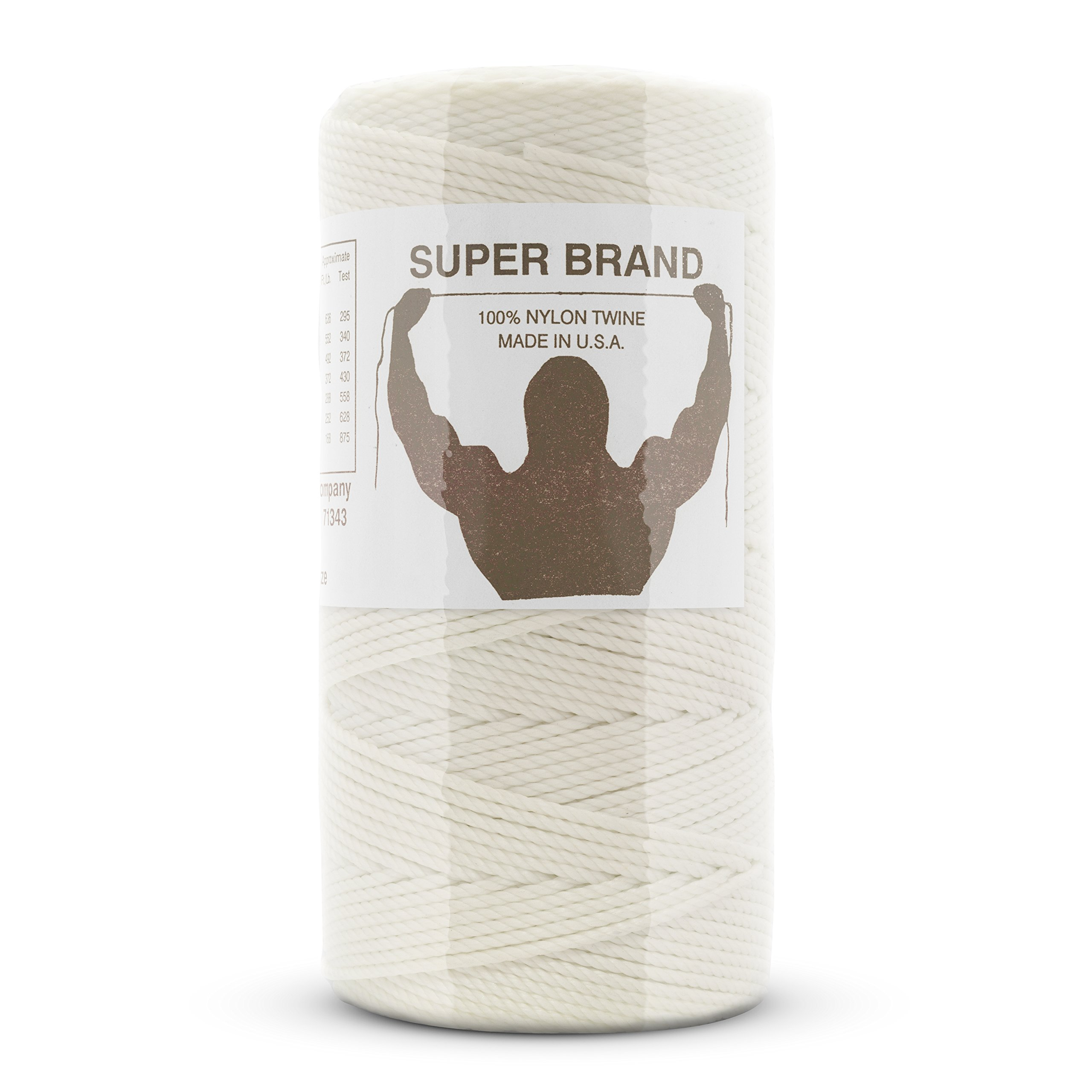 Bonded White Nylon Twine, Twisted. Size #9, 1 lb 1-pack