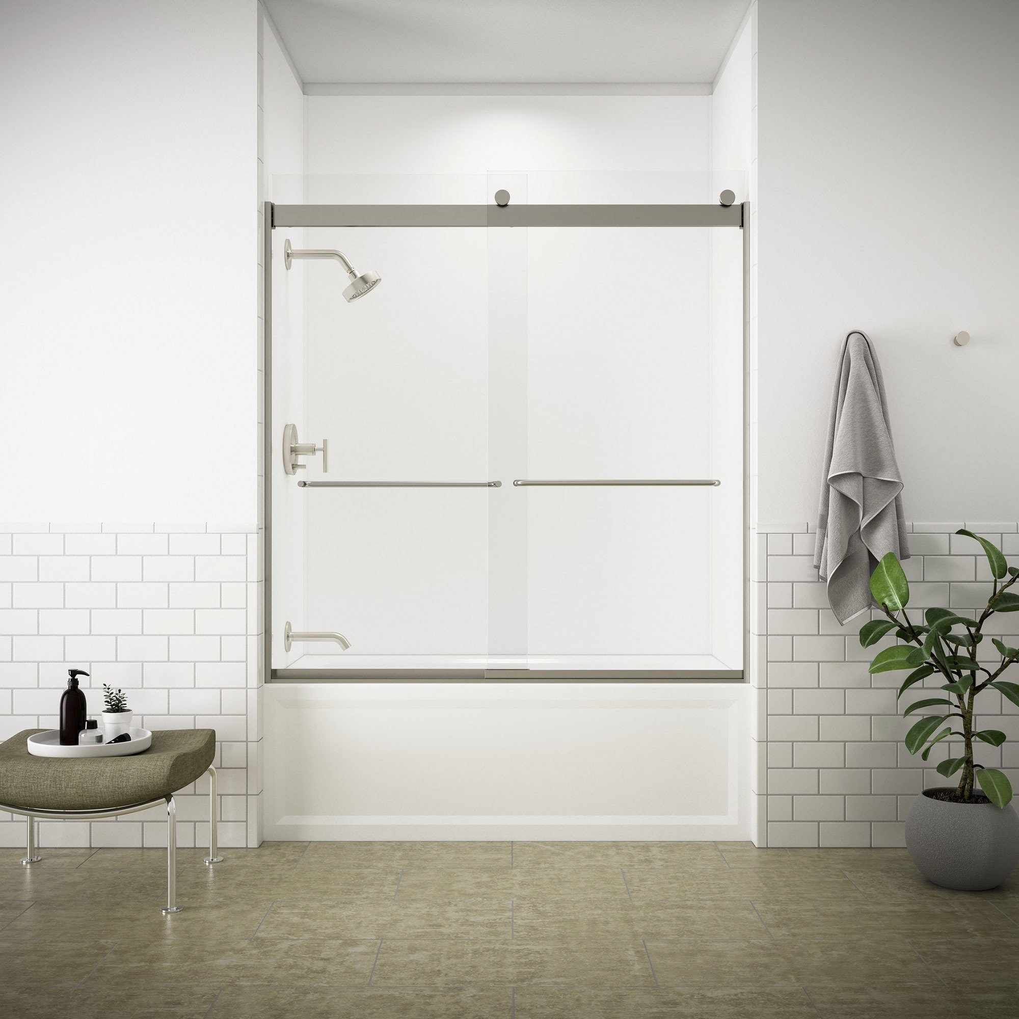 KOHLER K-706004-L-MX Levity  Bypass Bath Door with Towel Bar and 1/4-Inch  Crystal Clear Glass in Matte Nickel
