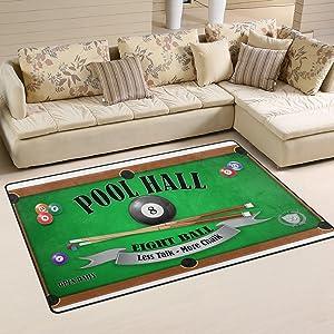 LORVIES Billiard Poster Pool Hall Eight Ball Area Rug Carpet Non-Slip Floor Mat Doormats for Living Room Bedroom 31 x 20 inches
