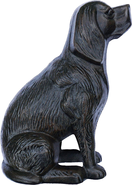 Lulu Decor, Cast Iron Decorative Dog Door Stopper, Doorstops, Sculpture, Dog Statue (Black 14 lbs)