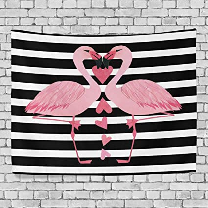 Amazon.com: WOOR Home Decor Flamingo Black And White Bars Tapestries ...