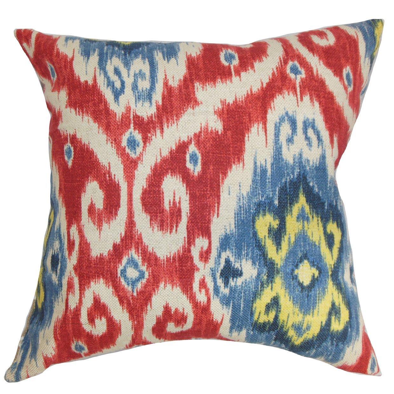 The枕コレクションqueen-d-42256-redblue-c70l30レッドブルーDeAndre Ikat寝具シャム、クイーン/ 20