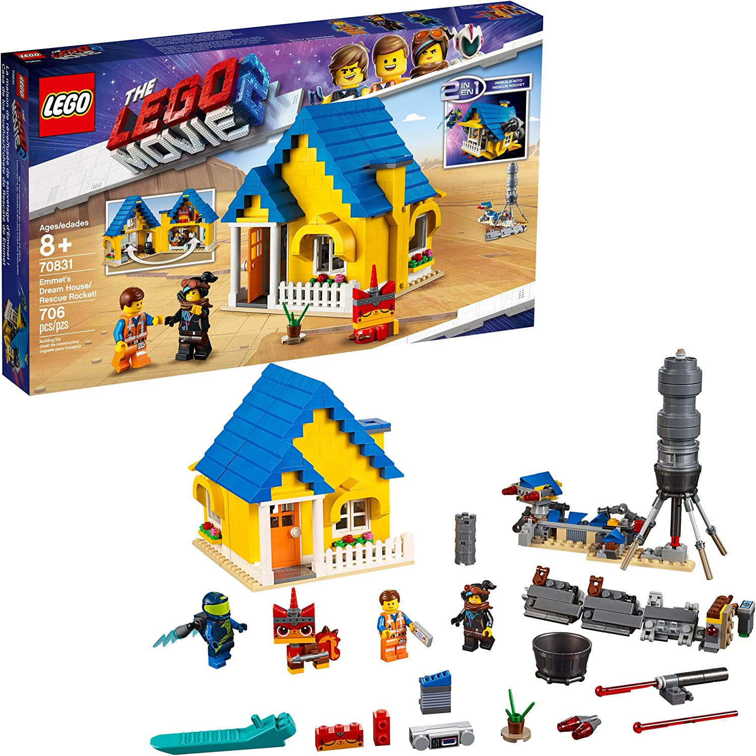 LEGO THE LEGO MOVIE 2 Emmet's Dream House/Rescue Rocket; 70831 Building Kit, Pretend Play Toy House for kids age 8+ (706 Pieces)
