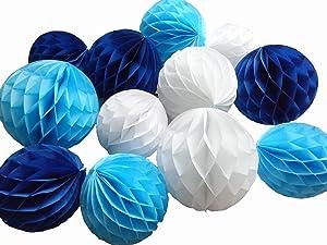 Daily Mall 12Pcs 8inch 10 inch Art DIY Tissue Paper Honeycomb Balls Party Partners Design Craft Hanging Pom-Pom Ball Party Wedding Birthday Nursery Decor (White Blue Navy Blue)