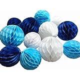 Royal Blue Daily Mall 10Pcs 8 inch Art DIY Tissue Paper Honeycomb Balls Party Partners Design Craft Hanging Pom-Pom Ball Party Wedding Birthday Nursery Decor