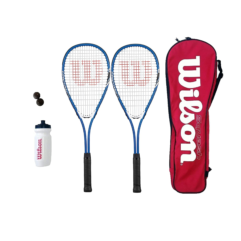 Wilson Hyper Team 500 Squash Racket Set with Squash Balls /& Waterbottle