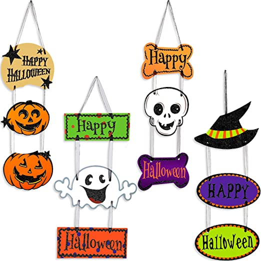 Happy Halloween LED Light Haunted House Witch /& Pumpkin Halloween Canvas Art