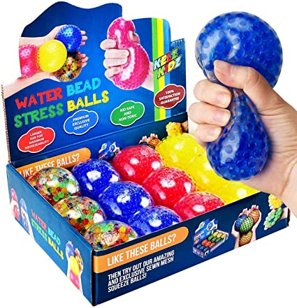 Helps Calm Kids with ADHD /& Autism 4 Pack KELZ KIDZ Durable Jumbo Squishy Water Bead Stress Balls - Great Sensory Toy for Anxiety Relief for Children and Adults