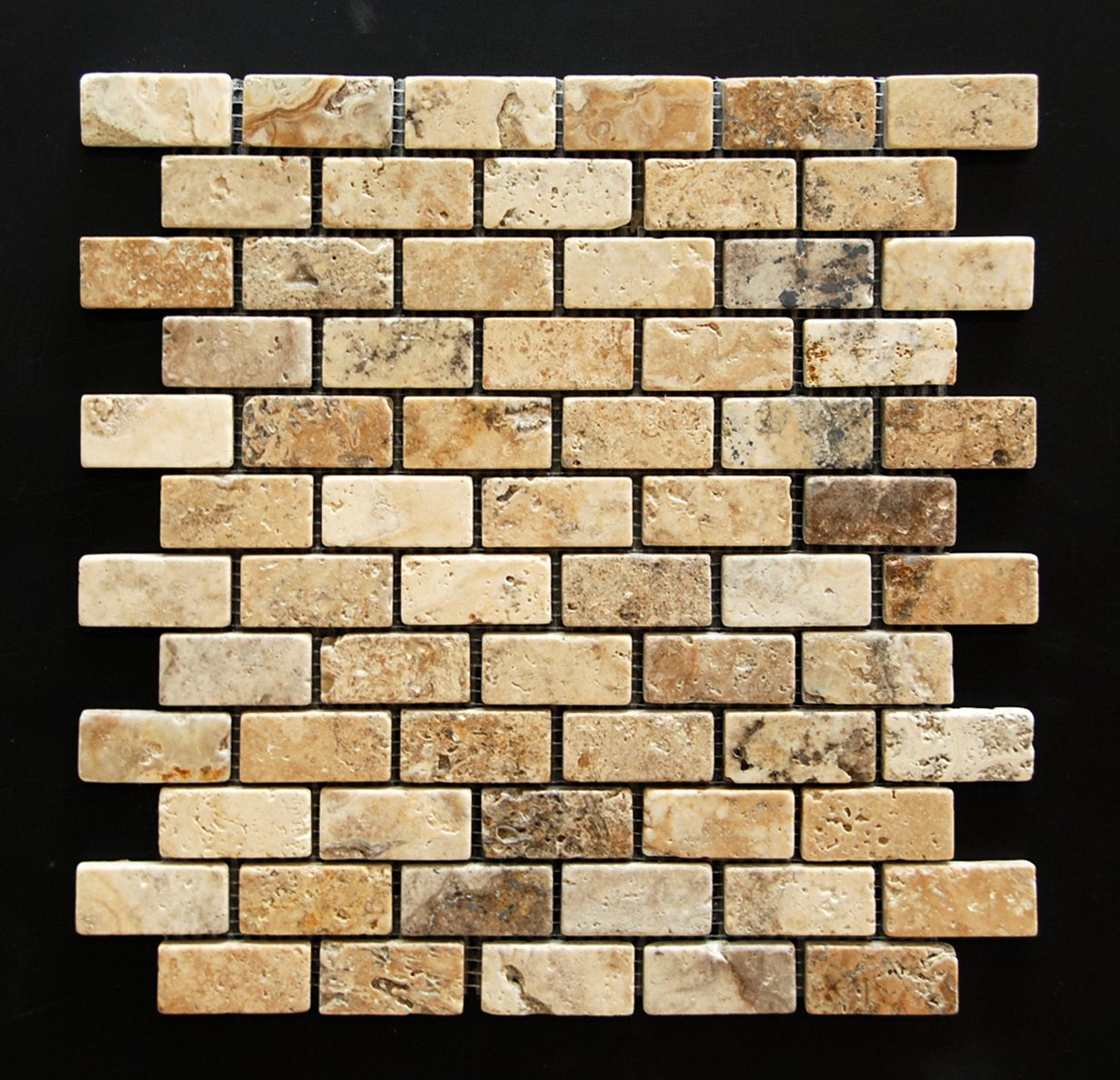 Philadelphia 1 X 2 Tumbled Travertine Brick Mosaic Tile - Box of 5 sq. ft.