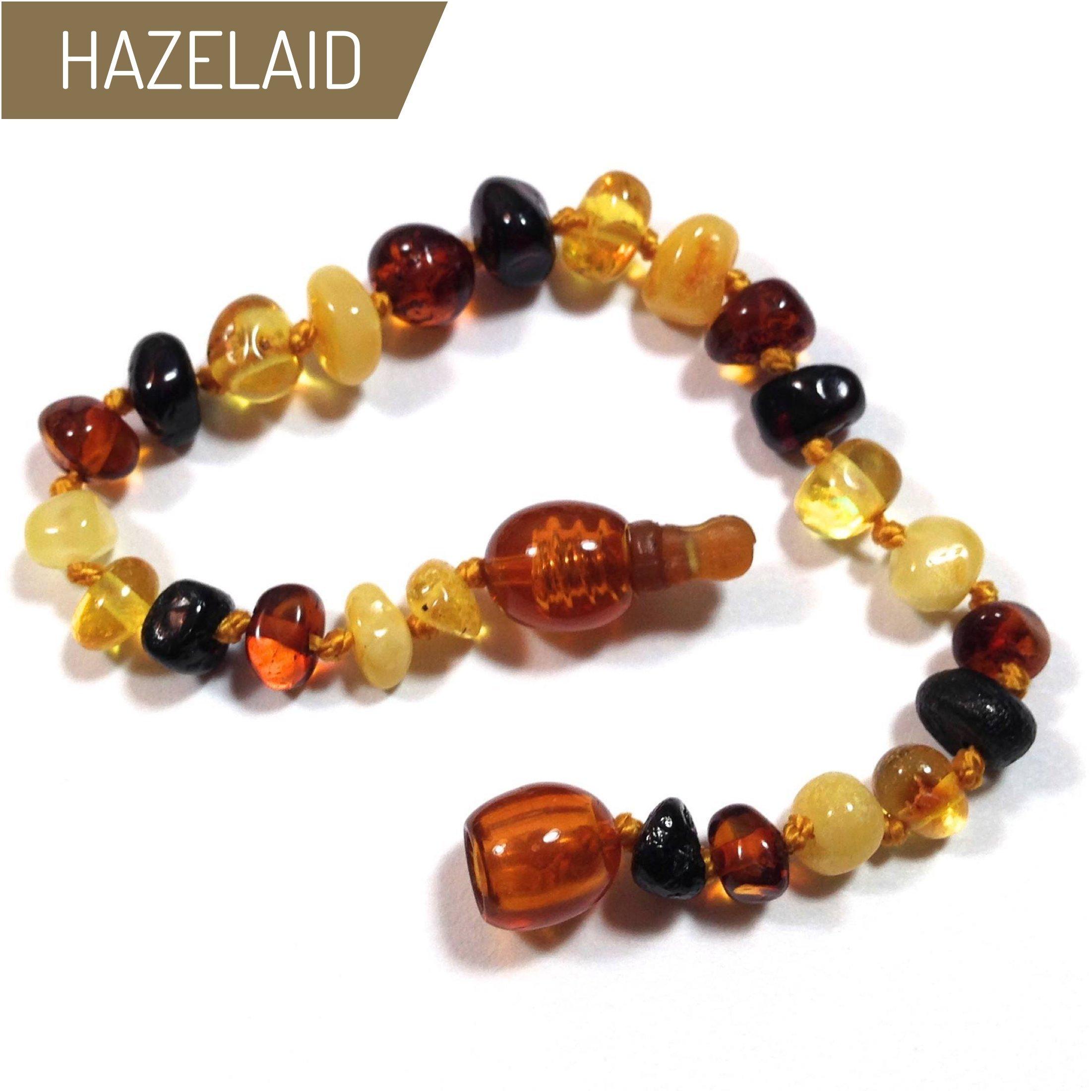 Hazelaid (TM) 5.5'' Pop-Clasp Baltic Amber Multicolored Round Bracelet