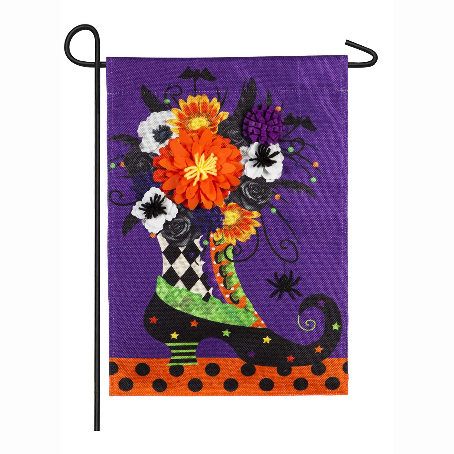 Evergreen Flag Witch Boot Halloween Outdoor Burlap Garden Flag, 12.5 x 18 inches