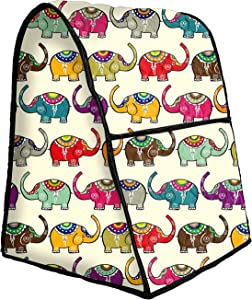 Cotton Quilted Stand Mixer Dust-proof Cover Kitchen Mixer Part and Accessories Organizer Protector Cover Bag, Anti Fingerprint Vapor Resistant & Machine Washable CYFC307 Animated Elephant Print