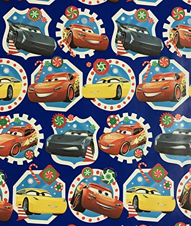 Disney Cars Christmas Clipart.Amazon Com Disney Cars Christmas On Blue Wrapping Paper