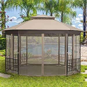Moccha 10 x 12 Ft Heavy Duty Octagonal Canopy Tent Patio Gazebo with Netting Sidewalls and Sturdy Steel Frame, Double Roof Vented Gazebo Canopy Shelter for Party, BBQ, Backyard, Event, Family, Brown