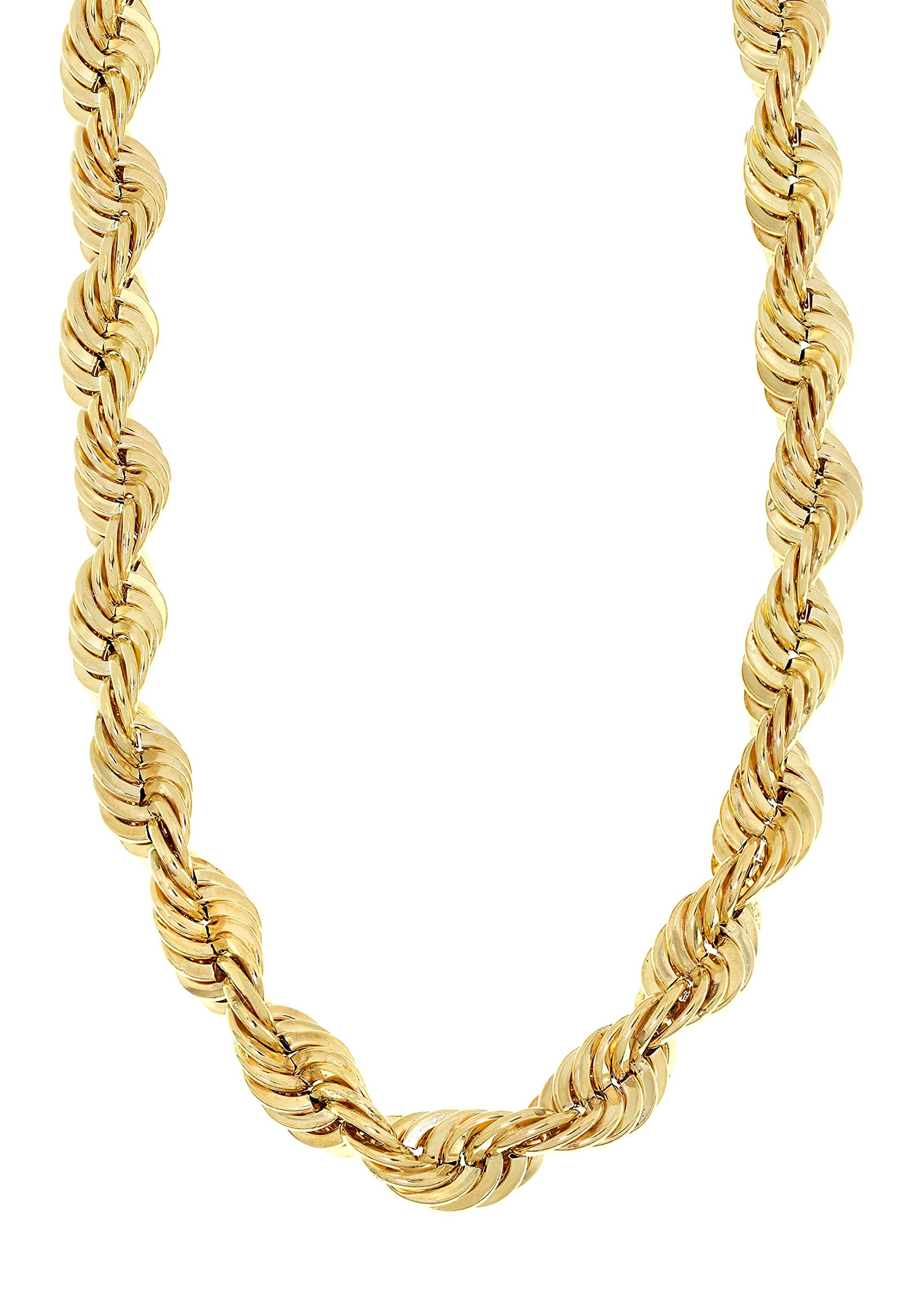MCS Jewelry 10 Karat Yellow Gold Hollow Rope Chain Necklace 8.0mm 10K OVER 22 Grams (Length: 24'')