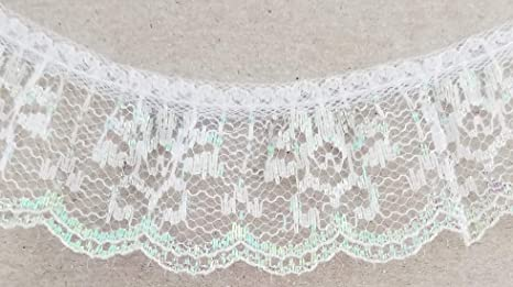 "Ruffled//Gathered 1/"" Lace Hearts or Prints Per 3 Yards Color Choice"