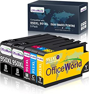 OfficeWorld Compatible Ink Cartridge Replacement for HP 950 951 950XL 951XL Works with Officejet Pro 8600 8610 8620 8630 8640 8625 8615 8100 251dw 271dw 276dw Printer (2Black,1Cyan,1Magenta,1Yellow)