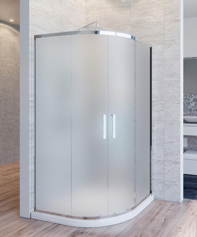 OL duchas Box ducha semicircular H195 cm 2 Puertas Correderas de cristal 6 mm satinado Atena Varios Tamaños: Amazon.es: Hogar