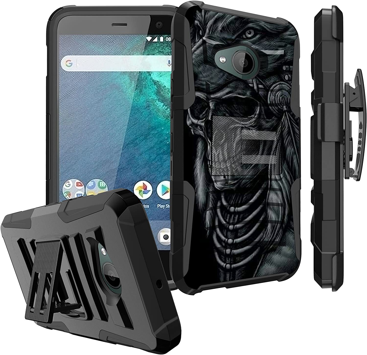 Untouchble Case for [HTC U11 Life, HTC U11 Life [U11 Life Only] Case] Heavy Duty Shell with Kickstand Rotating Heavy Duty Holster Belt - Wolf Warrior