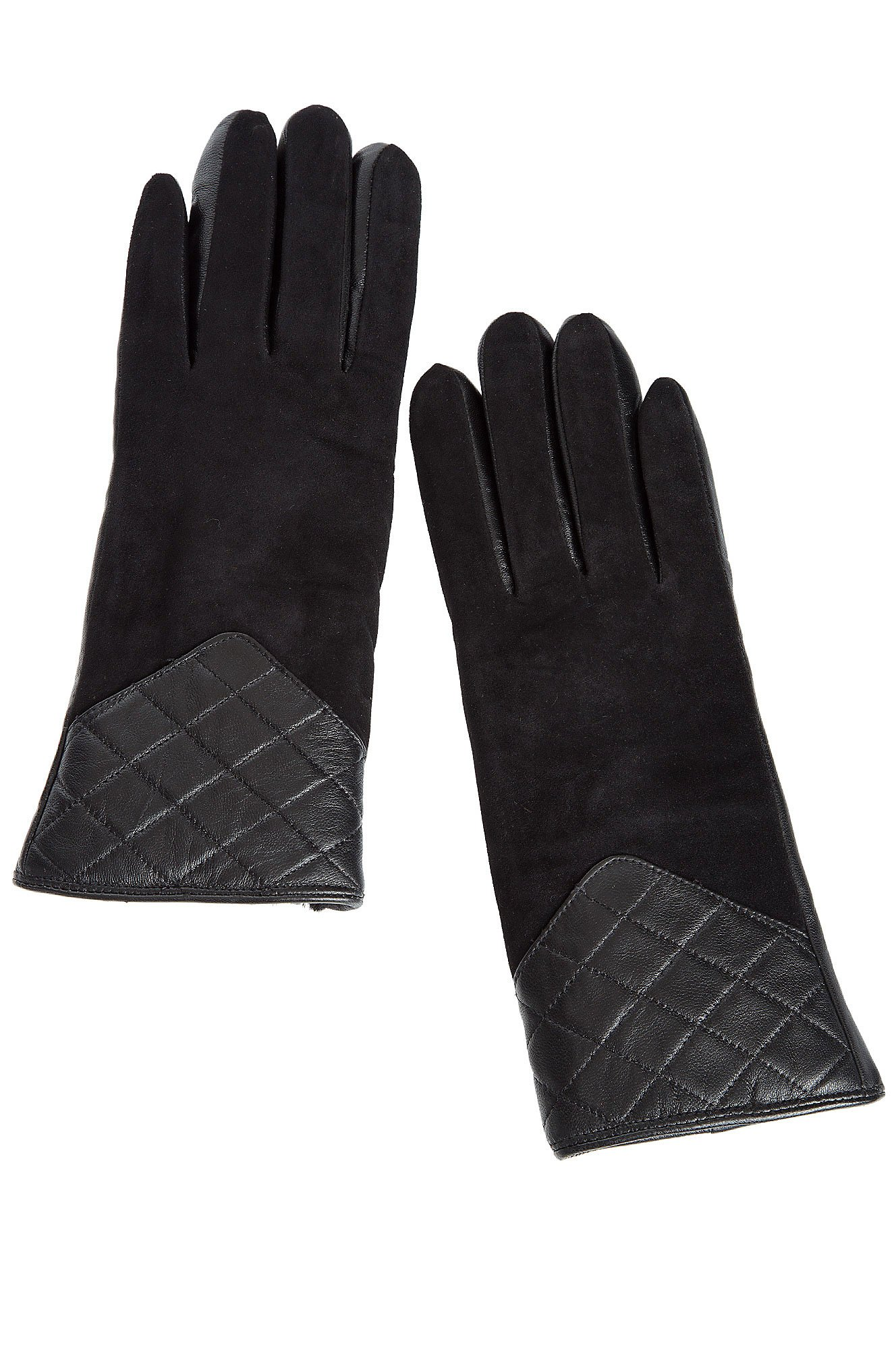 Women's Shearling Sheepskin Quilted Gloves, BLACK, Size LARGE (7.5-8'')