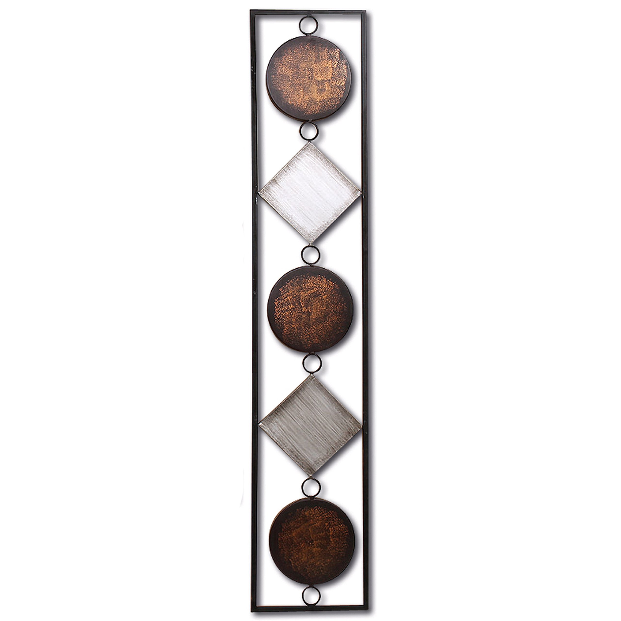 WHW Whole House Worlds Modernist Floating Circles and Squares, Rectangle Frame Metal Wall Art, Artisan Crafted, Rustic Gray, Bronze,Gold and Silver Painted Iron, Over 3 Ft Long, Plaque by WHW Whole House Worlds