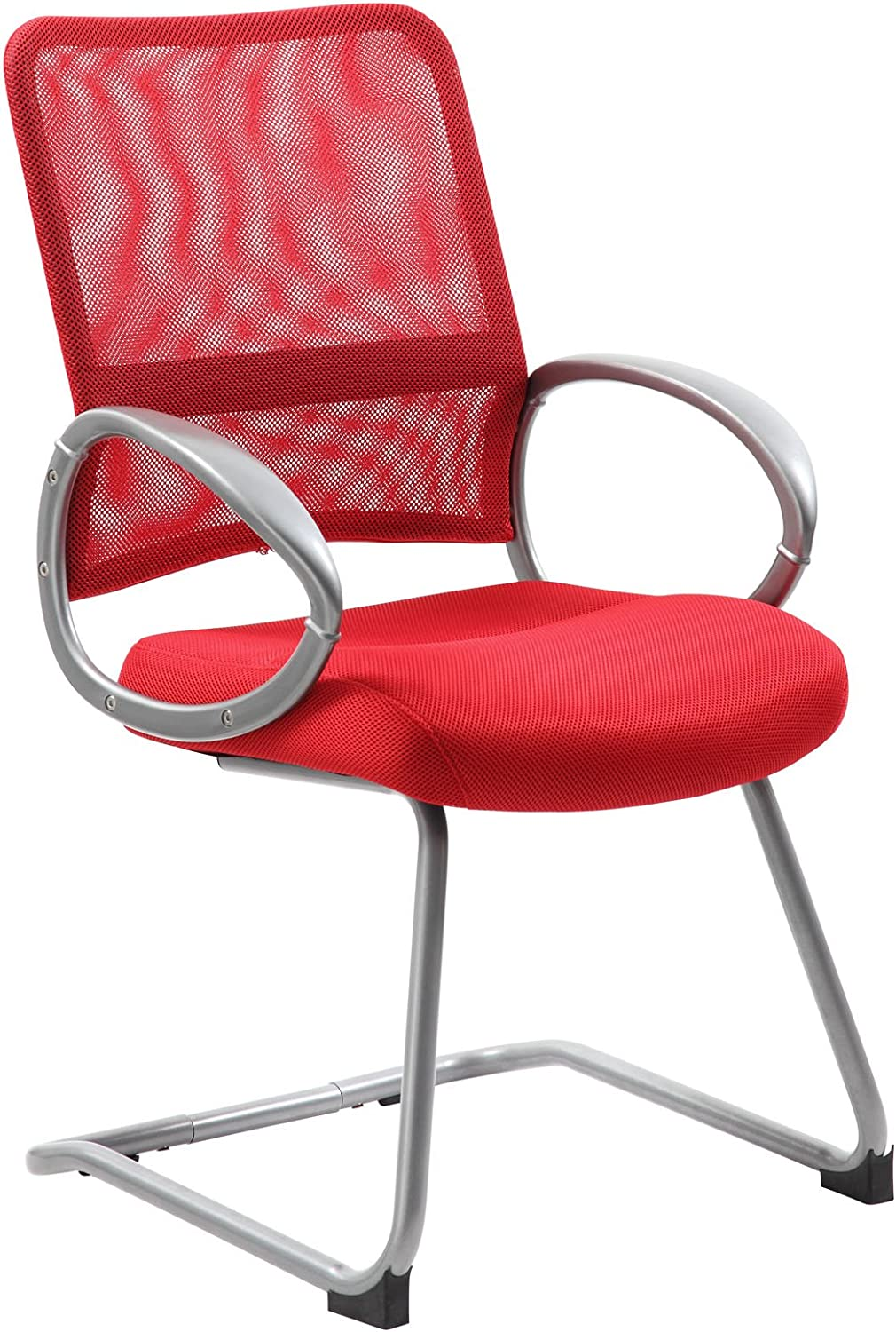 Boss Office Products Mesh Back Guest Chair with Pewter Finish in Red