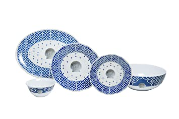 Galleyware Company Moroccan Shell 20 Piece Melamine Dinnerware Set Navy/Gray/White  sc 1 st  Amazon.com & Amazon.com | Galleyware Company Moroccan Shell 20 Piece Melamine ...